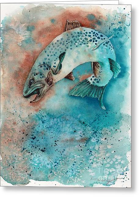 Leaping Trout Greeting Cards - Big Trout Greeting Card by Artist R
