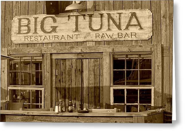 Tuna Digital Greeting Cards - Big Tuna Restaurant and Raw Bar in sepia Greeting Card by Suzanne Gaff