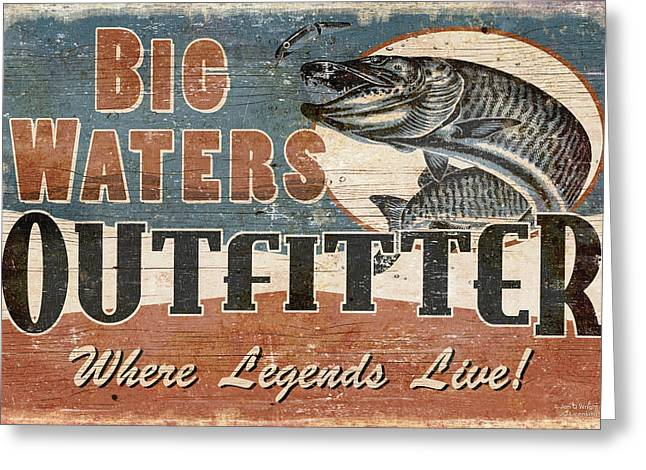 Muskie Greeting Cards - Big Waters Outfitters Greeting Card by JQ Licensing