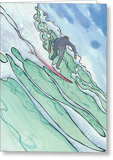 Surfer Art Greeting Cards - Big Wave 2 Greeting Card by Harry Holiday