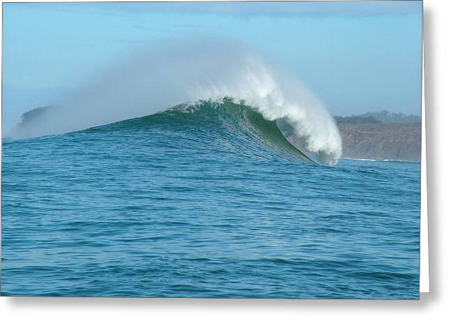 Half Moon Bay Greeting Cards - Big Wave At Mavericks Point in Half Moon Bay California Greeting Card by Scott Lenhart