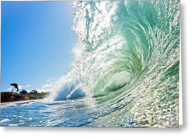 Santa Cruz Art Greeting Cards - Big Wave on the Shore Greeting Card by Paul Topp