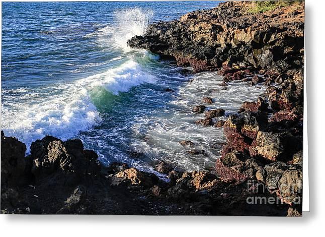 Rugged Cliffs Greeting Cards - Big Waves crashing on lava cliffs on Maui Hawaii coastline Greeting Card by Edward Fielding