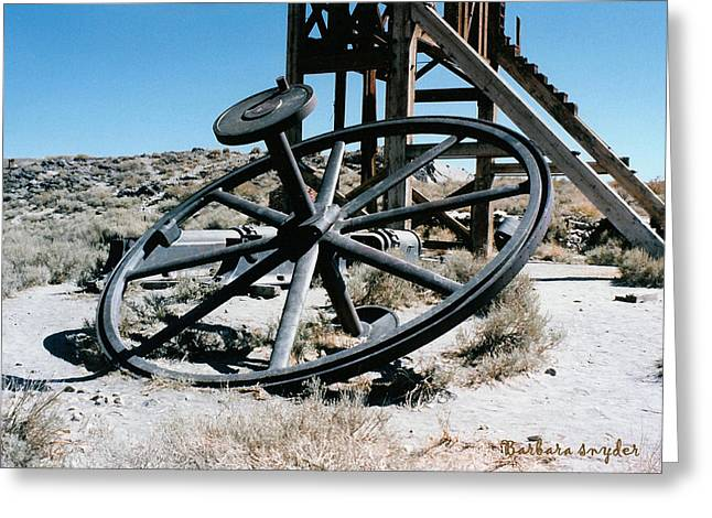 Big Wheel Bodie Greeting Card by Barbara Snyder
