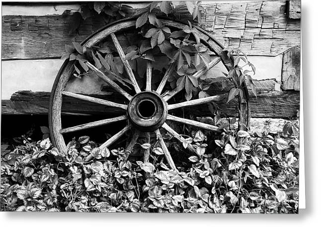 Spokes Greeting Cards - Big Wheel bw Greeting Card by Mel Steinhauer