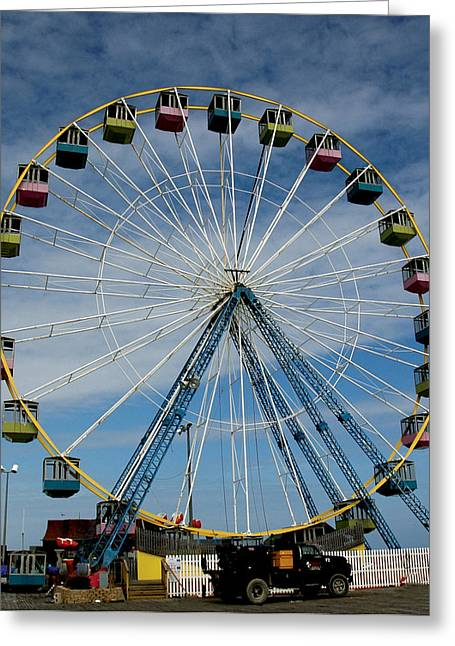 Casino Pier Digital Art Greeting Cards - Big Wheel Greeting Card by Sam De Palma