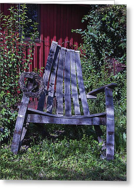 Rockers Greeting Cards - Big Wooden Chair Greeting Card by Garry Gay