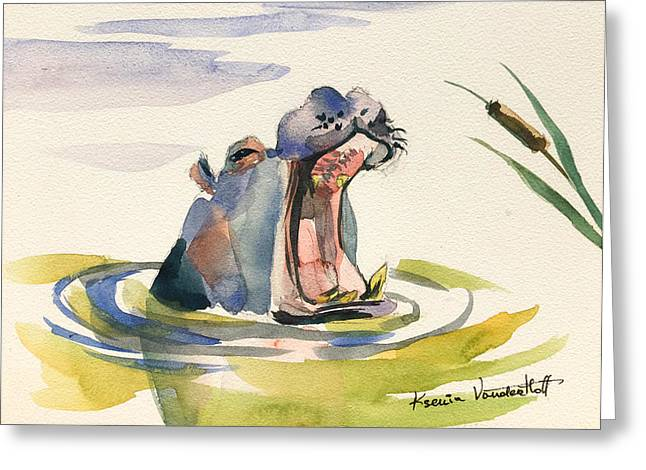 Hippopotamus Greeting Cards - Big Yawn. Greeting Card by Ksenia VanderHoff