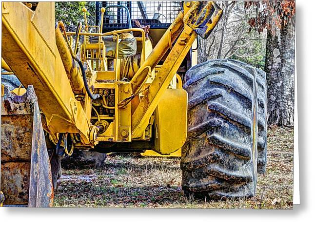 Logging Tractor Greeting Cards - Big Yellow Greeting Card by JC Findley