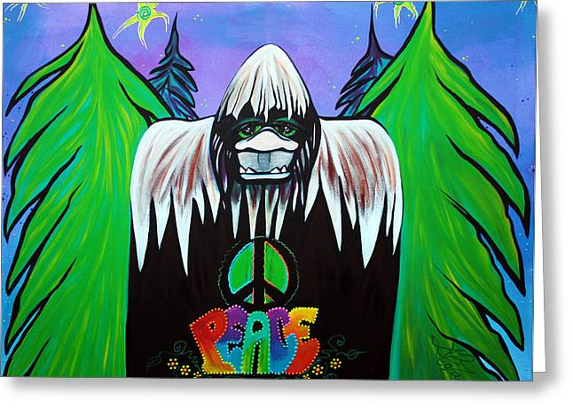 Zoology Paintings Greeting Cards - Bigfoot Peace Greeting Card by Laura Barbosa