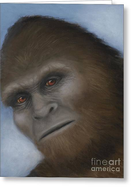 Jeff Pastels Greeting Cards - Bigfoot The Unexpected Encounter Greeting Card by Rebekah Sisk