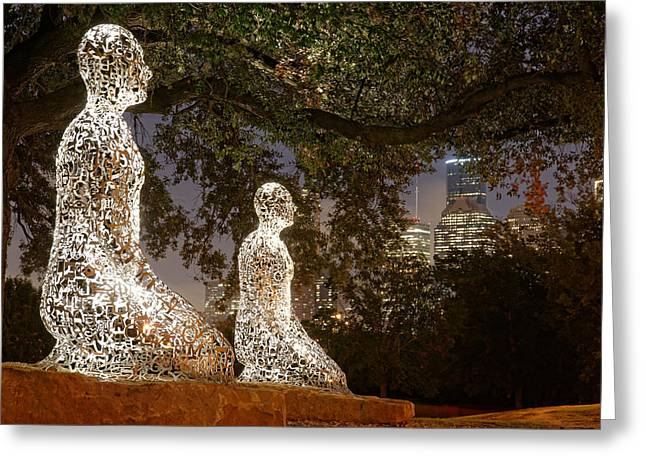 Tolerance Greeting Cards - Bigger than the Sum of our Parts - Tolerance Sculptures Downtown Houston Texas Greeting Card by Silvio Ligutti