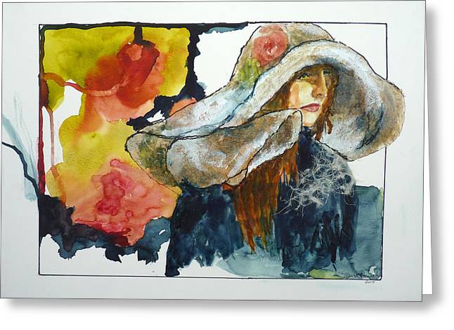 Mix Medium Paintings Greeting Cards - Bigger Then Her Painting Greeting Card by P Maure Bausch