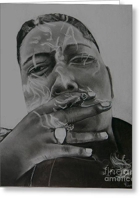 Portraitist Greeting Cards - Biggie Blunt Greeting Card by Riane Cook