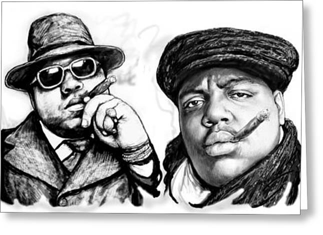 Hop Drawings Greeting Cards - Biggie Smalls art drawing poster Greeting Card by Kim Wang