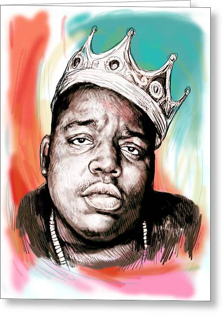 Charcoal Portrait Greeting Cards - Biggie smalls colour drawing art poster Greeting Card by Kim Wang