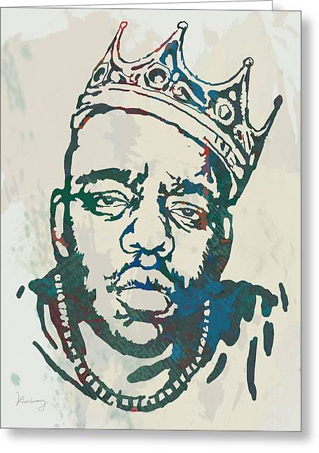 Best Known As The Notorious B.i.g. Greeting Cards - Biggie smalls Modern etching art poster Greeting Card by Kim Wang