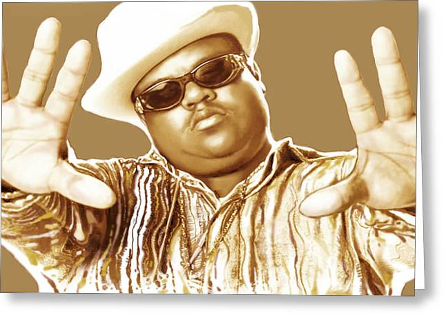 The King Of Pop Greeting Cards - Biggie smalls stylised pop art colour drawing poster Greeting Card by Kim Wang
