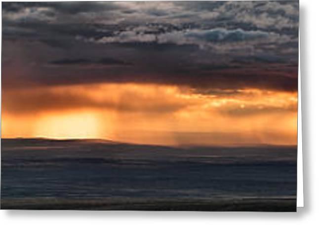 Bighorn Basin Storm Panoramic Greeting Card by Leland D Howard