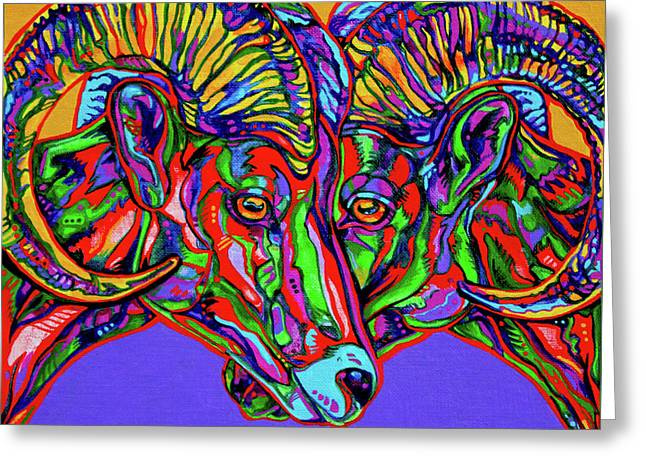 Vivid Colour Paintings Greeting Cards - Bighorn Sheep Greeting Card by Derrick Higgins