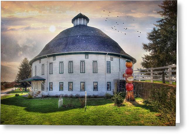 Round Barn Greeting Cards - Biglerville Farmers Market Greeting Card by Lori Deiter