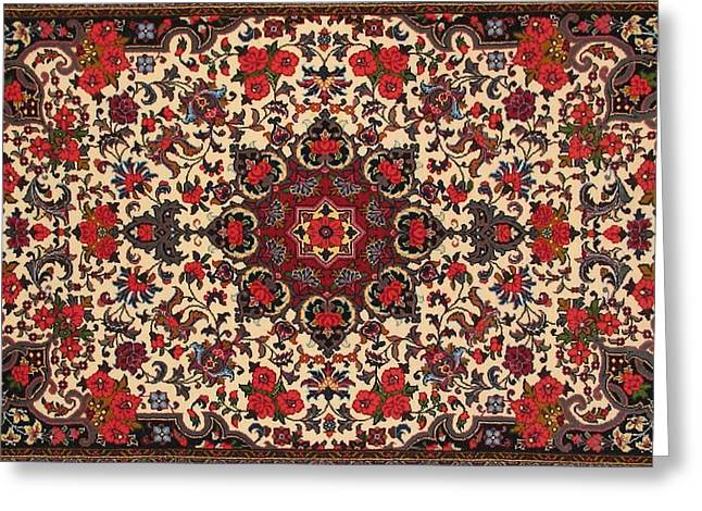 Bijar Red And Cream Silk Carpet Persian Art Poster Greeting Card by Persian Art