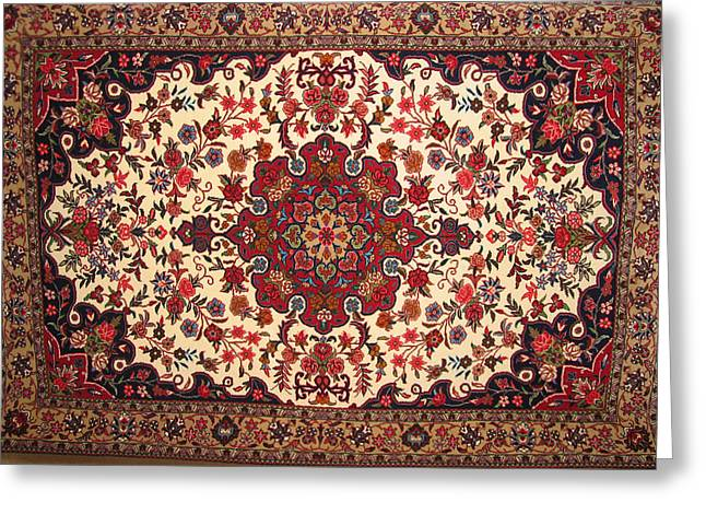 Photograph Tapestries - Textiles Greeting Cards - Bijar Red And Khaki Silk Carpet Persian Art Greeting Card by Persian Art