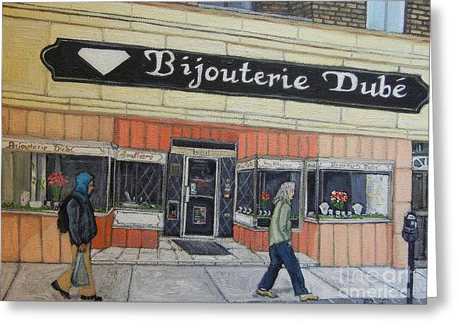 Verdun Greeting Cards - Bijouterie Dube Greeting Card by Reb Frost