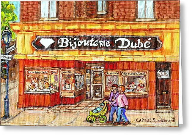 Verdun Landmarks Greeting Cards - Bijouterie Dube Rue Wellington Verdun Montreal Street Scene Original Paintings Carole Spandau Art Greeting Card by Carole Spandau