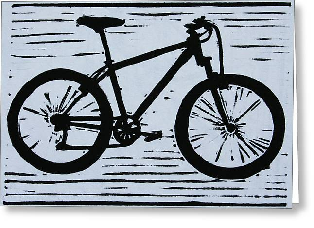Lino Print Greeting Cards - Bike 10 Greeting Card by William Cauthern