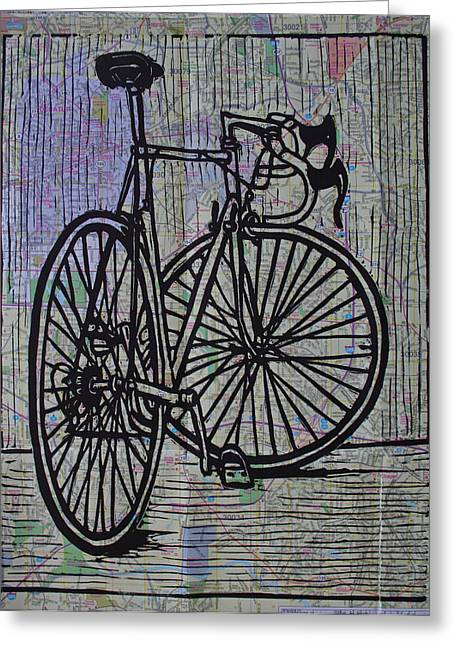 Recently Sold -  - Lino Greeting Cards - Bike 4 on Map Greeting Card by William Cauthern