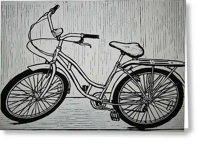 Lino Greeting Cards - Bike 5 Greeting Card by William Cauthern