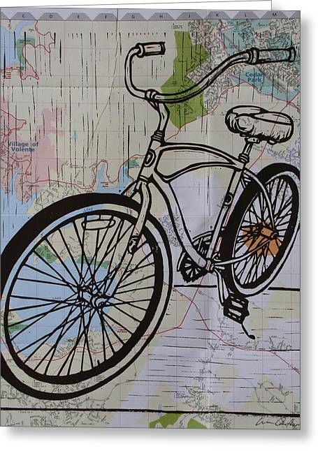 Lino Print Greeting Cards - Bike 6 on map Greeting Card by William Cauthern