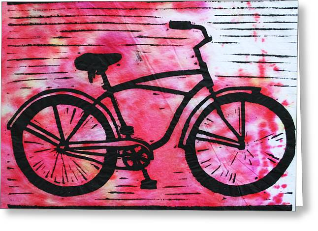 Lino Print Greeting Cards - Bike 9 Greeting Card by William Cauthern