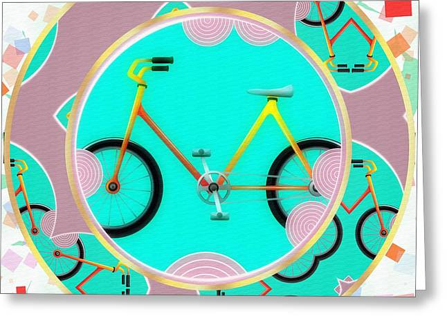 Visual Quality Digital Greeting Cards - Bike Abstract Greeting Card by L Wright