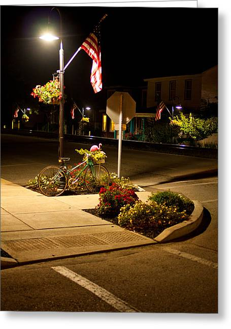 La Grange Greeting Cards - Bike and Flags Greeting Card by Chris Fender