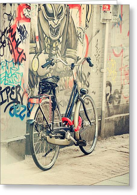 Bike Trip Greeting Cards - Bike at Graffiti Wall. Trash Sketches from the Amsterdam Streets Greeting Card by Jenny Rainbow