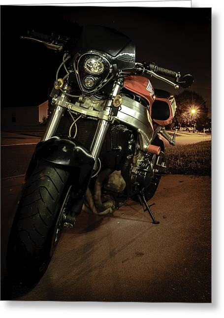 Motorcycles Pyrography Greeting Cards - Bike at night Greeting Card by Alex Heath