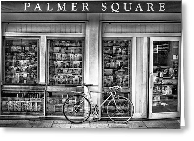 Entryway Greeting Cards - Bike At Palmer Square Book Store In Princeton Greeting Card by Ben and Raisa Gertsberg