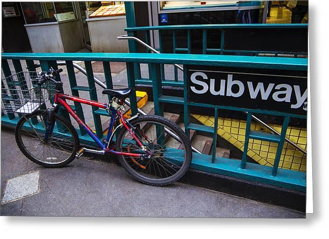 Midtown Greeting Cards - Bike at subway entrance Greeting Card by Garry Gay