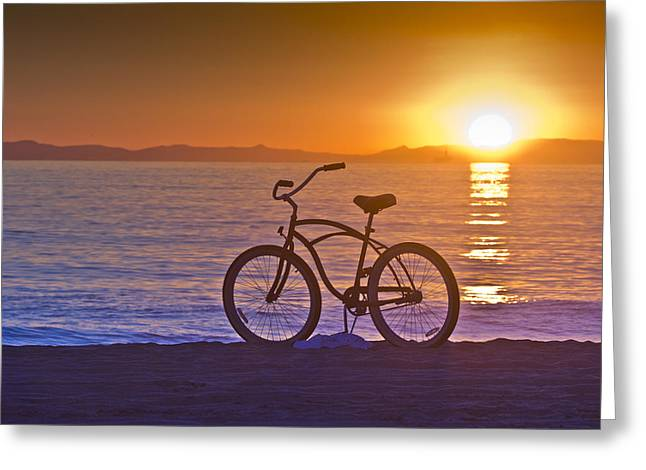 Roller Blades Greeting Cards - Bike at Sunset in Newport Beach Greeting Card by Harald Vaagan