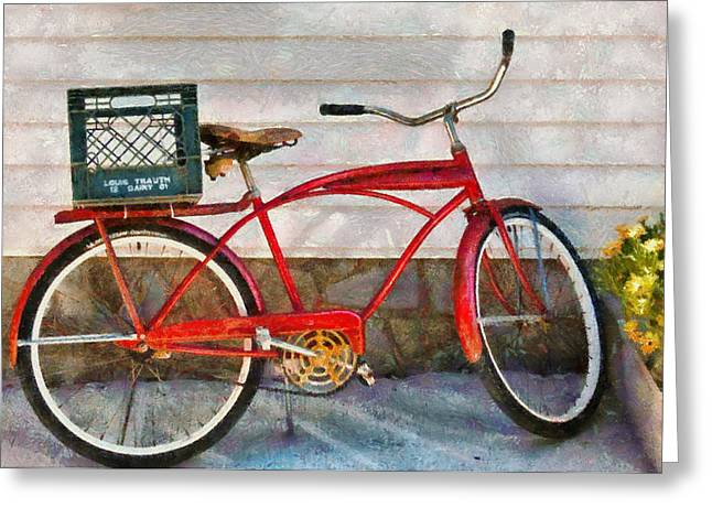Suburbanscenes Greeting Cards - Bike - Delivery Bike Greeting Card by Mike Savad