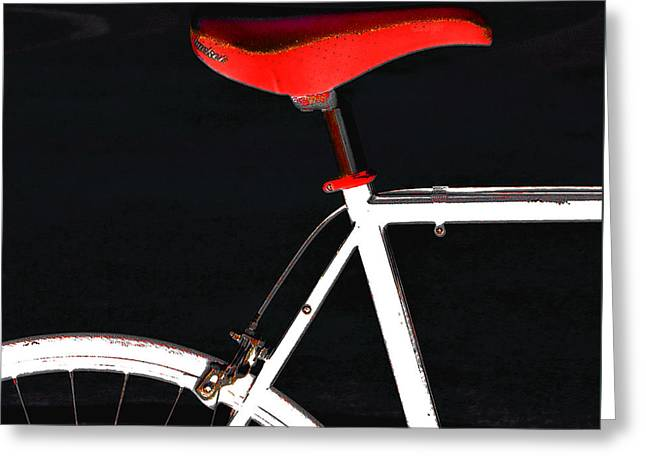 Sprockets Greeting Cards - Bike In Black White And Red No 1 Greeting Card by Ben and Raisa Gertsberg