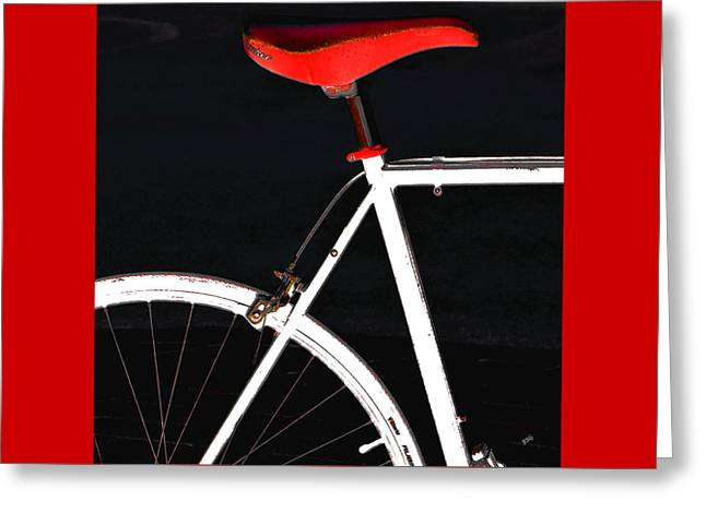 Geometric Digital Photographs Greeting Cards - Bike In Black White And Red No 1 Greeting Card by Ben and Raisa Gertsberg