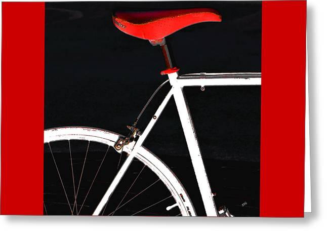 Geometric Digital Art Photographs Greeting Cards - Bike In Black White And Red No 1 Greeting Card by Ben and Raisa Gertsberg