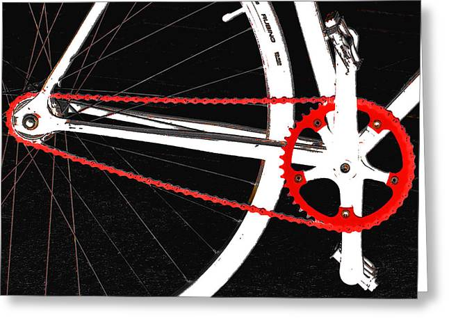 Pedal Greeting Cards - Bike In Black White And Red No 2 Greeting Card by Ben and Raisa Gertsberg