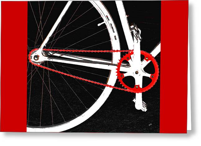 Pedals Greeting Cards - Bike In Black White And Red No 2 Greeting Card by Ben and Raisa Gertsberg