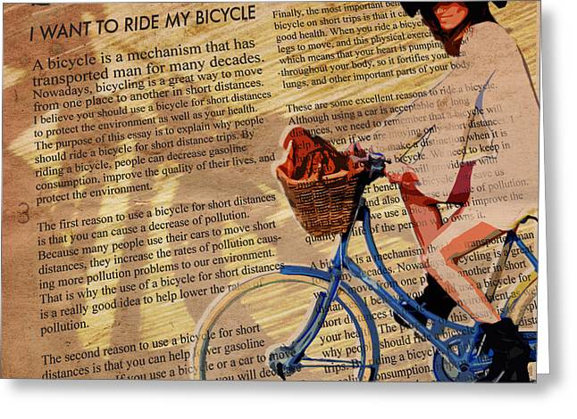 Shopping Greeting Cards - Bike in Style Greeting Card by Sassan Filsoof