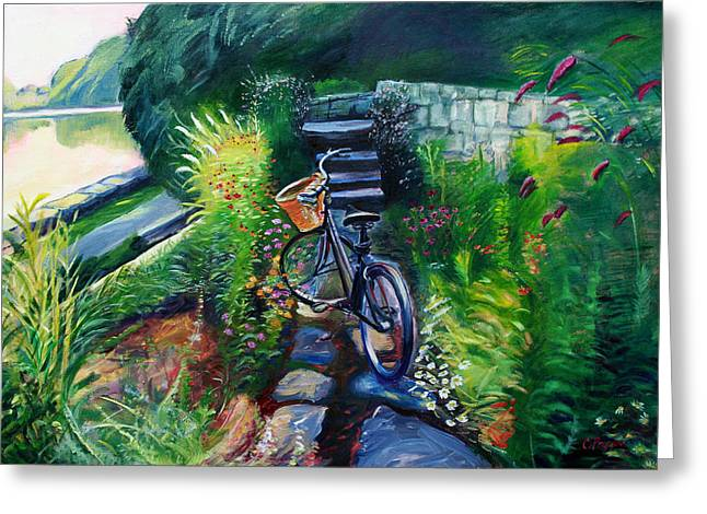 Best Sellers -  - Stepping Stones Greeting Cards - Bike in the Butterfly Garden Greeting Card by Colleen Proppe