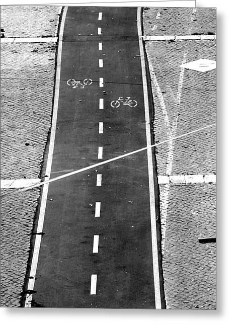 Run Down Greeting Cards - Bike Lane Greeting Card by Valentino Visentini